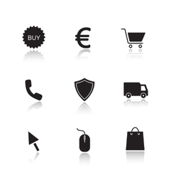 Online marketing drop shadow icons set vector image