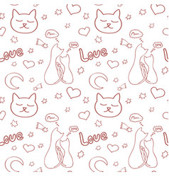 ornament with cats and romantic elements vector image