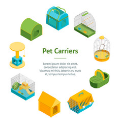 Pet carriers 3d banner card circle isometric view vector