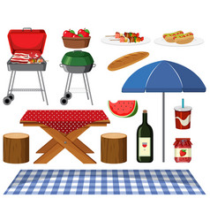 picnic set with bbq grill and food on white vector image