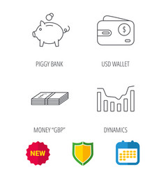 piggy bank cash money and dynamics chart icons vector image
