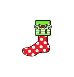 Polkadot sock christmas gift vector