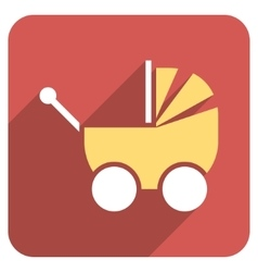 Pram flat rounded square icon with long shadow vector