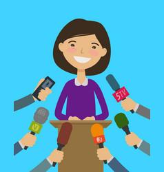 public speaker interview with journalists press vector image