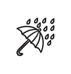 Rain and umbrella sketch icon vector