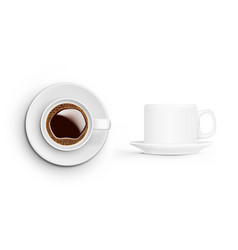 realistic coffee cup on white background top and vector image