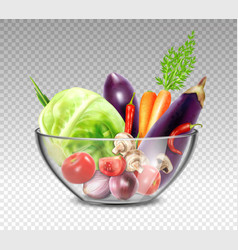 Realistic Vegetables In Glass Bowl vector