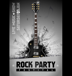 rock poster design template with guitar vector image