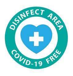 round symbol for disinfected areas covid-19 vector image