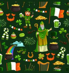 saint patricks day holiday signs seamless pattern vector image