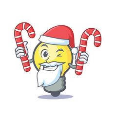 Santa light bulb character cartoon with candy vector