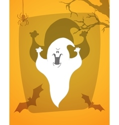 Scary ghost Halloween poster background card vector