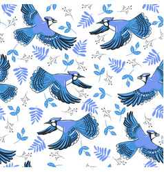 Seamless pattern with blue jays in flight vector