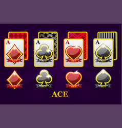 set four aces playing cards suits for poker and vector image