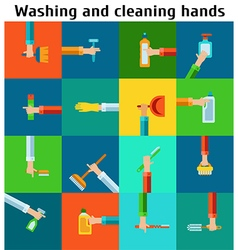 Set of cleaning hands vector image