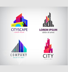 Set of modern city logos business uilding vector
