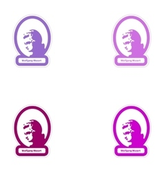 Set of paper stickers on white background wolfgang vector