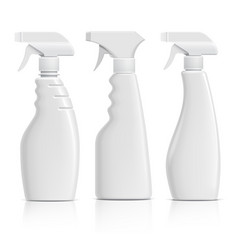 set realistic white plastic bottles can spray vector image
