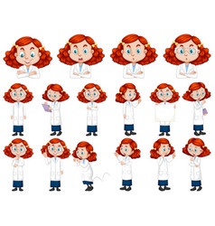 Set red hair girl in science gown vector
