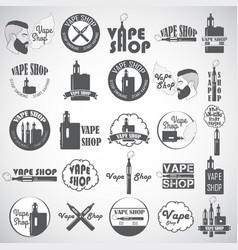 set vape e-cigarette logo emblems and badges vector image