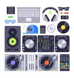 Set various stylized dj music equipment vector