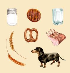 Set watercolor grilled meat dog barley vector