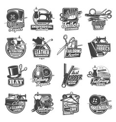 sewing and tailor icons atelier dressmaker shop vector image