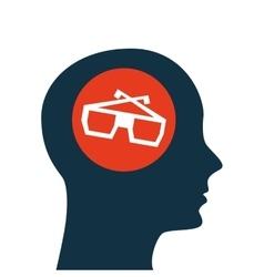 silhouette head concept cinema glasses vector image