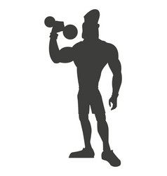Silhouette healthy man weight lifting vector