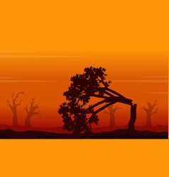 silhouette of forest on fire landscape vector image