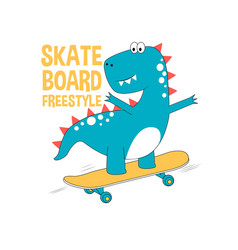 skater dinosaur print design with slogan vector image