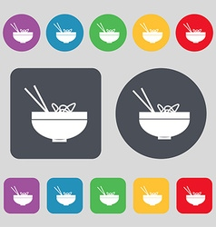 Spaghetti icon sign A set of 12 colored buttons vector image