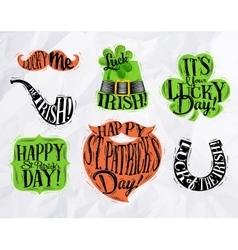 St Patrick symbols color vector