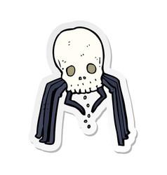Sticker of a cartoon spooky skull spider vector