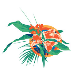 Summer hawaiian tropical palm leaves and flowers vector