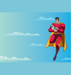 Super dad with baby in sky vector