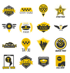 Taxi web icons set yellow checkered flag star vector