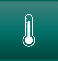 Thermometer icon goal flat on green background vector