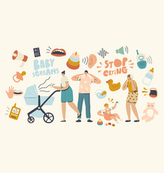 tired woman and man characters with kid stroller vector image