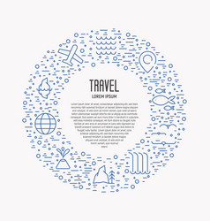 Tourism and travel thin line icons vector