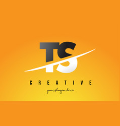 Ts t s letter modern logo design with yellow vector