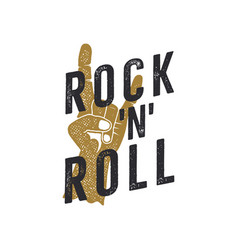 vintage hand drawn rock n roll poster music t vector image