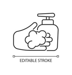 Washing with liquid soap linear icon vector
