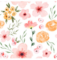 Watercolor spring flower seamless pattern vector