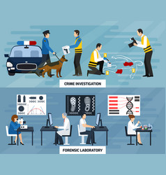 crime investigation flat banners vector image vector image