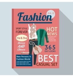Fashion magazine with casual clothing vector image vector image