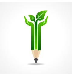 Save nature concept with pencil hands vector image vector image