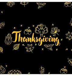 Thanksgiving Gold and Black Design vector image vector image