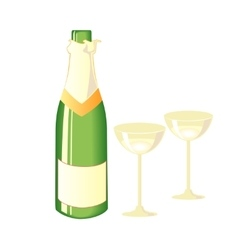 Two glasses of champagne and bottle vector image