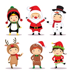 Cute kids wearing Christmas costumes vector image